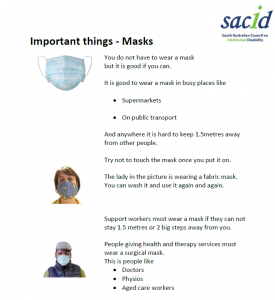 Important things - Masks. Screenshot of Easy Read covid news by SACID 83524416