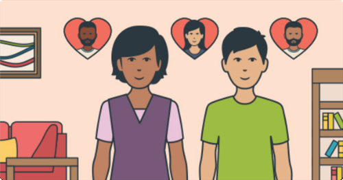 cartoon image of female and male standing next to each other. Behind are 3 love heart picture frames with images of different faces in them.. The two people could be a couple.