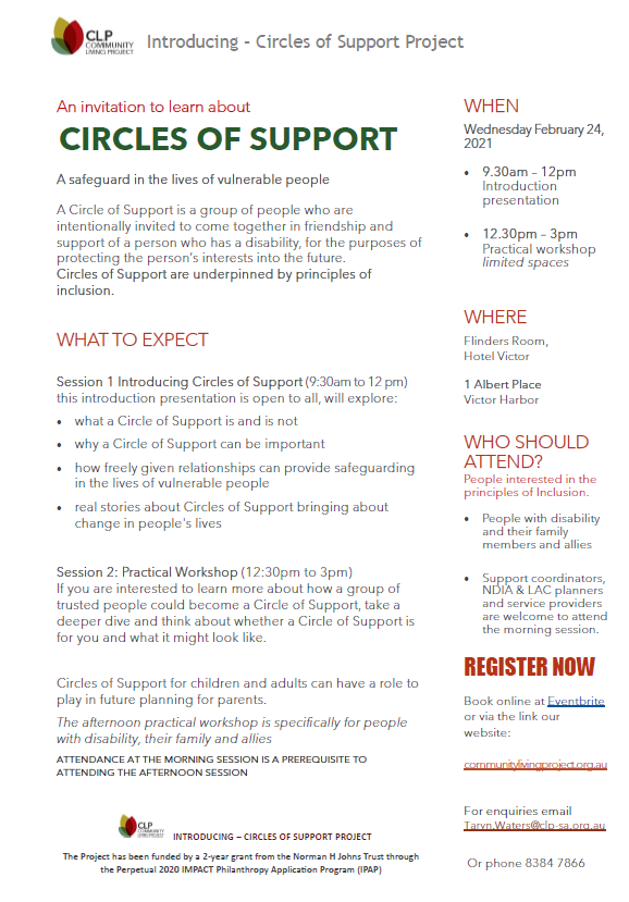 An introduction to circles of support. All info in website text and pdf download