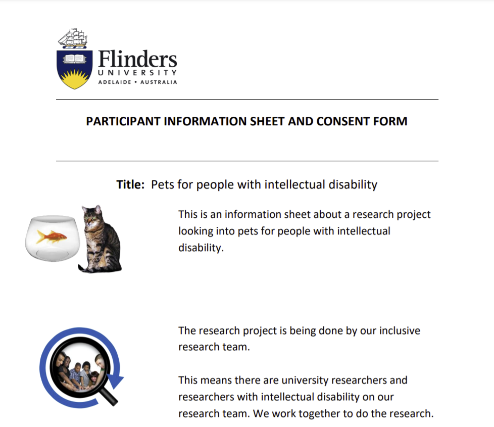 Inclusive Research - Pets for people with intellectual disability. Small snapshot of PDF participant information sheet