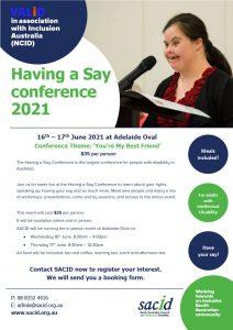 Having a Say conference SA hub flyer