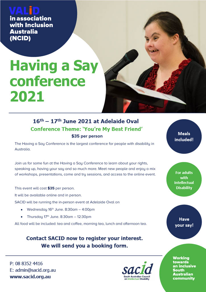 Having a Say conference SA hub flyer